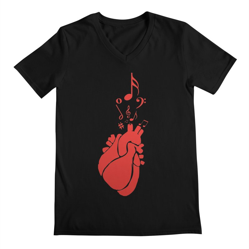 Heart Beat Men's Regular V-Neck by TerrificPain's Artist Shop by SaulTP