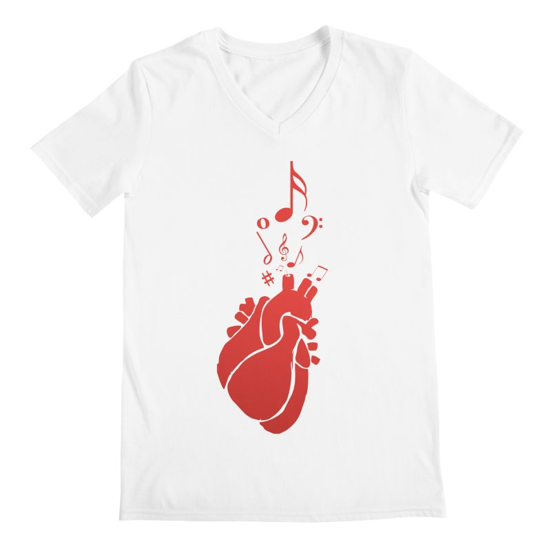 Heart Beat Men's V-Neck by TerrificPain's Artist Shop