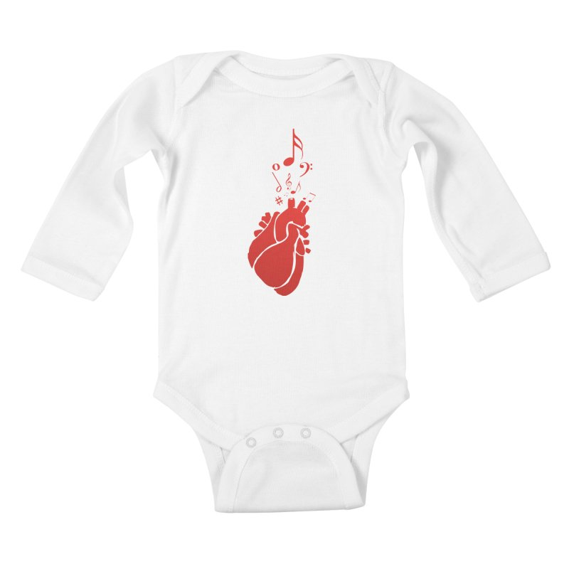 Heart Beat Kids Baby Longsleeve Bodysuit by TerrificPain's Artist Shop