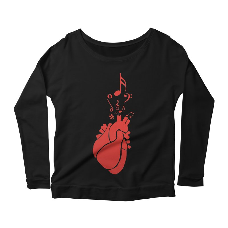 Heart Beat Women's Scoop Neck Longsleeve T-Shirt by TerrificPain's Artist Shop by SaulTP