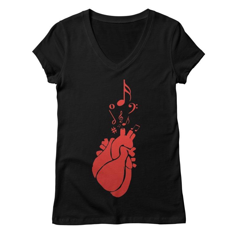 Heart Beat Women's V-Neck by TerrificPain's Artist Shop