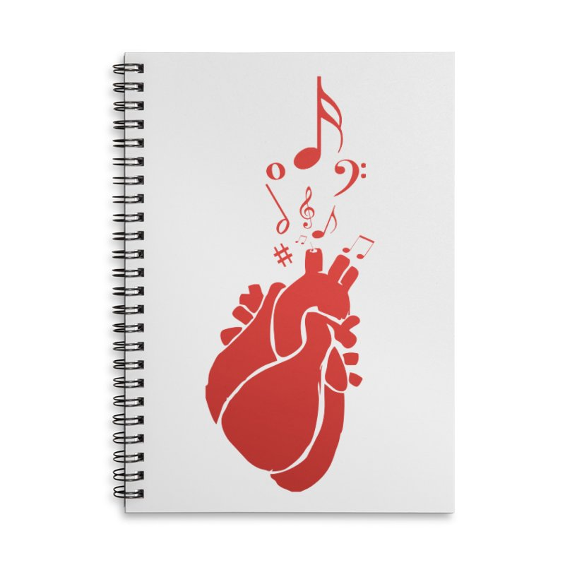 Heart Beat Accessories Lined Spiral Notebook by TerrificPain's Artist Shop by SaulTP
