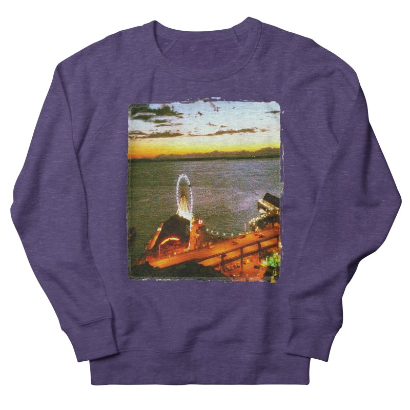 Seattle Great Wheel Sunset Men's Sweatshirt by terryann's Artist Shop