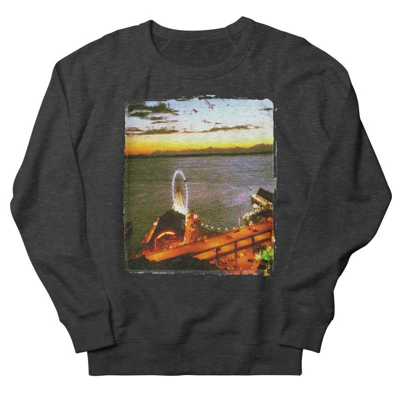 Seattle Great Wheel Sunset Men's Sweatshirt by terryann's Artist Shop