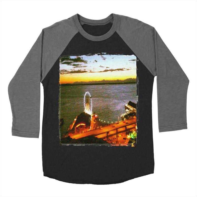 Seattle Great Wheel Sunset Men's Baseball Triblend T-Shirt by terryann's Artist Shop