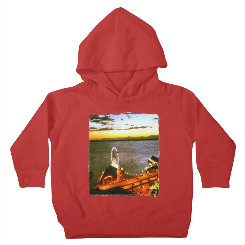 Seattle Great Wheel Sunset Kids Toddler Pullover Hoody by terryann's Artist Shop