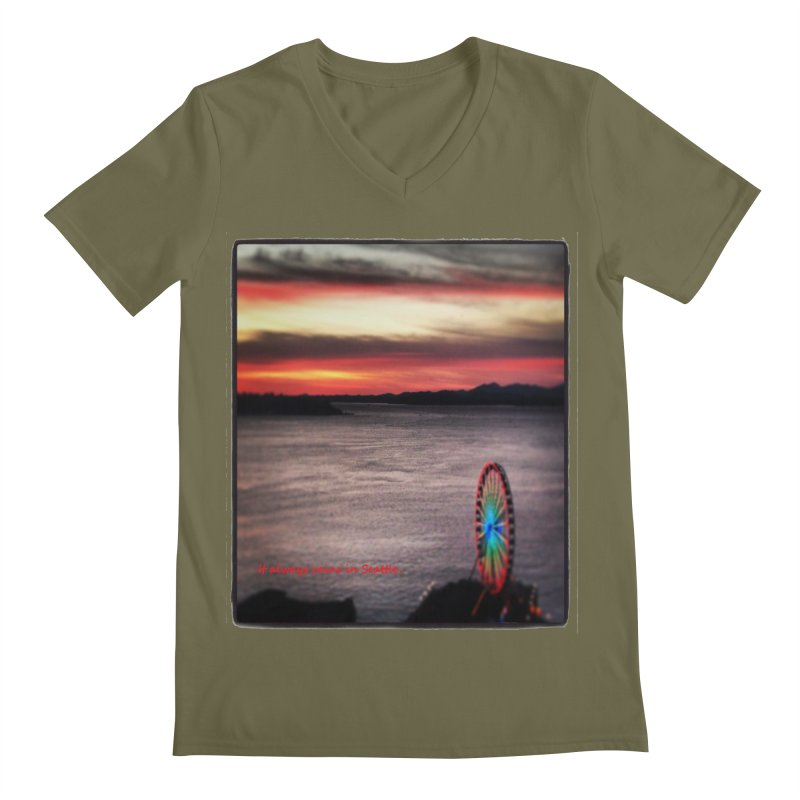 It never rains in Seattle! Men's V-Neck by terryann's Artist Shop