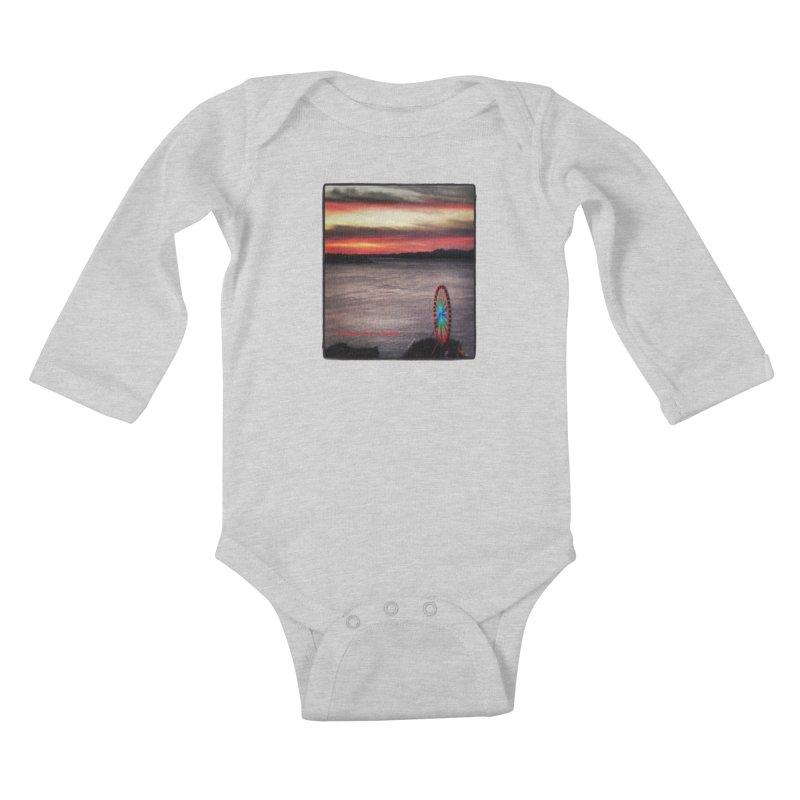 It never rains in Seattle! Kids Baby Longsleeve Bodysuit by terryann's Artist Shop
