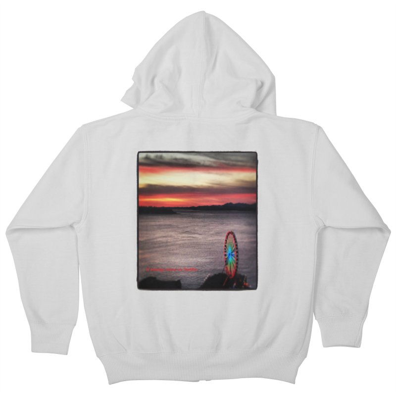 It never rains in Seattle! Kids Zip-Up Hoody by terryann's Artist Shop