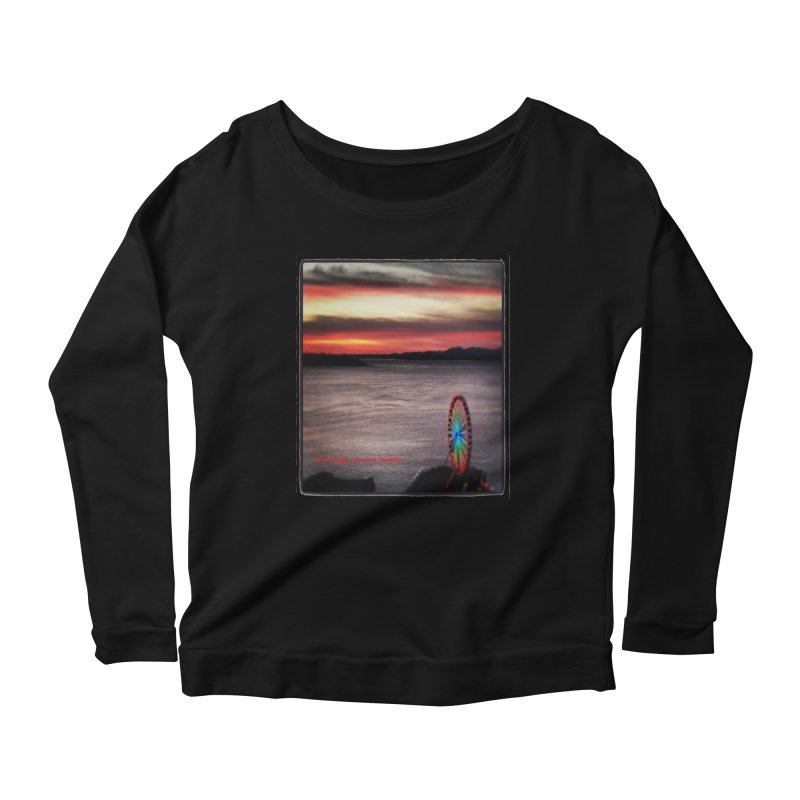 It never rains in Seattle! Women's Longsleeve Scoopneck  by terryann's Artist Shop