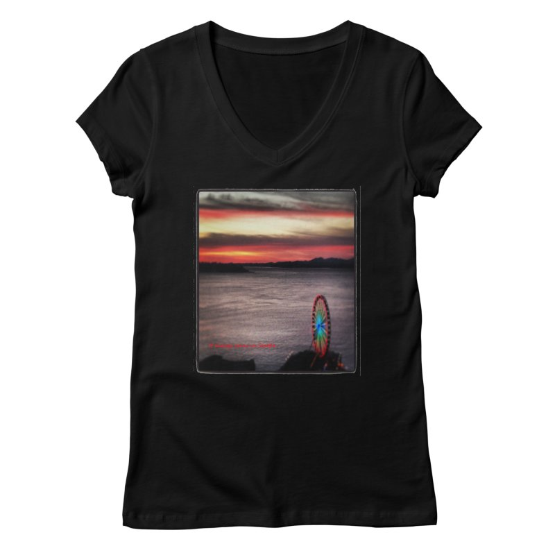 It never rains in Seattle! Women's V-Neck by terryann's Artist Shop