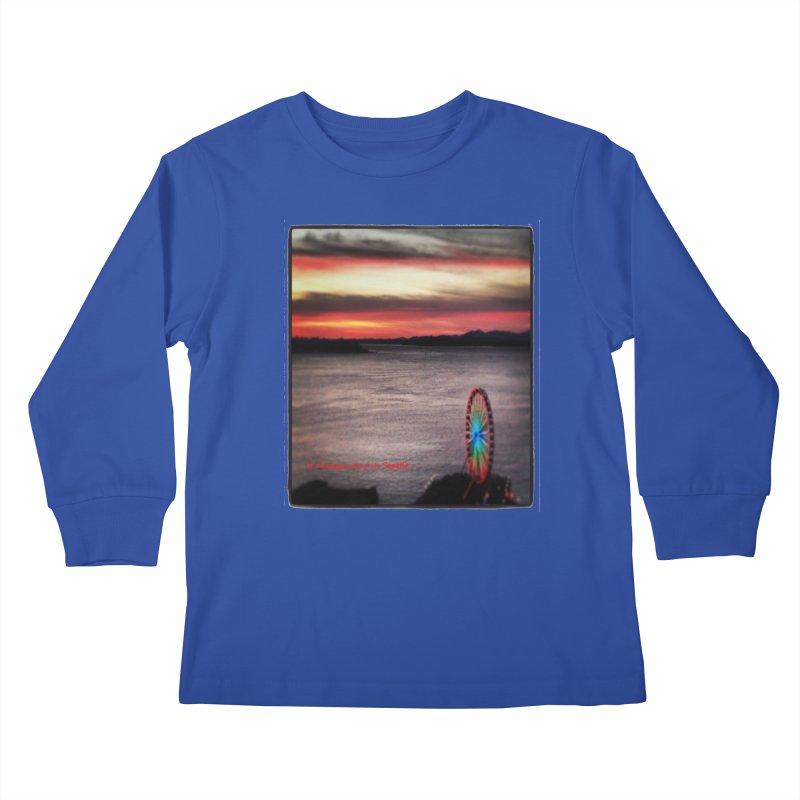 It never rains in Seattle! Kids Longsleeve T-Shirt by terryann's Artist Shop