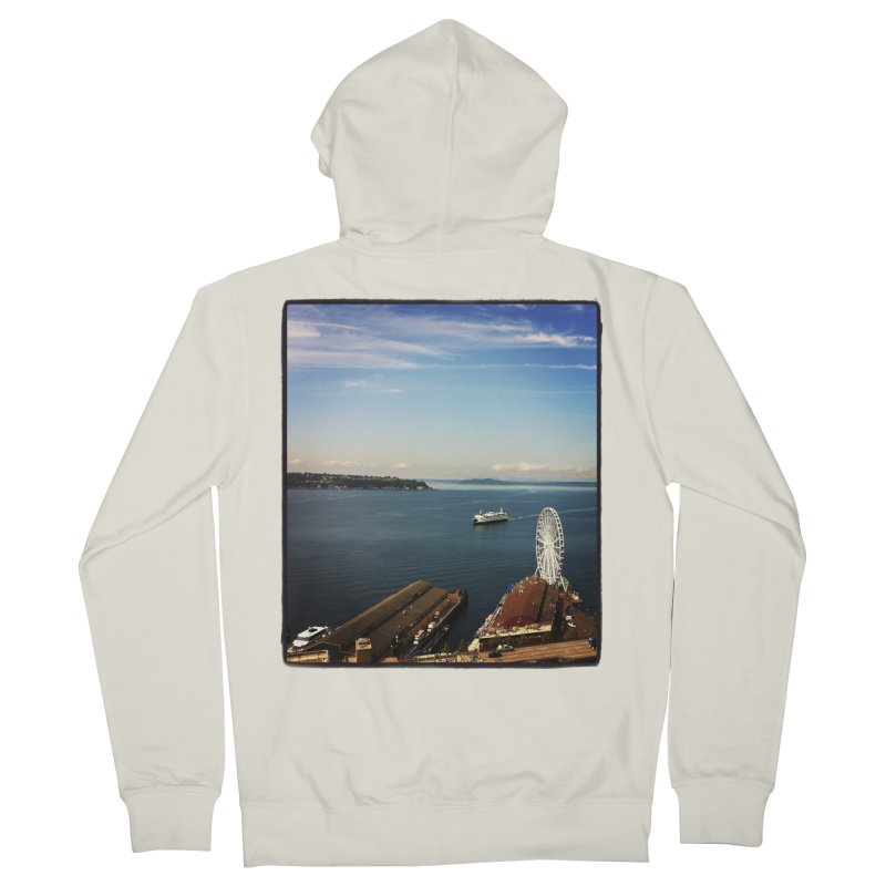 The Perfect Seattle Day, Ferry, and the Great Wheel Women's Zip-Up Hoody by terryann's Artist Shop