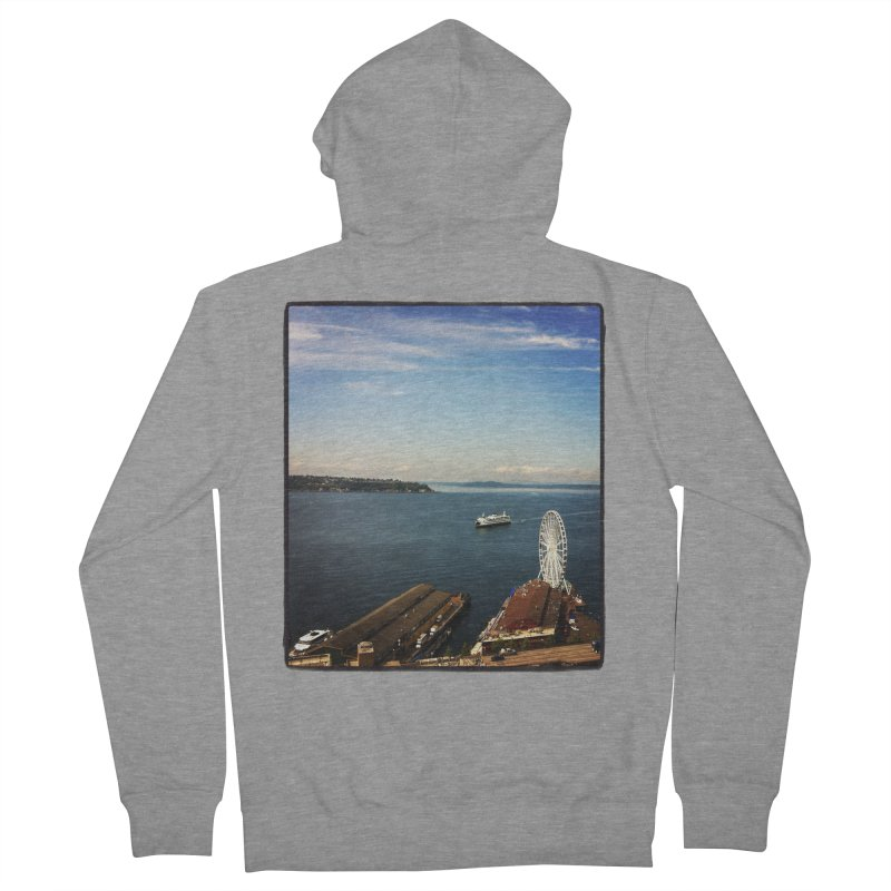 The Perfect Seattle Day, Ferry, and the Great Wheel Men's Zip-Up Hoody by terryann's Artist Shop