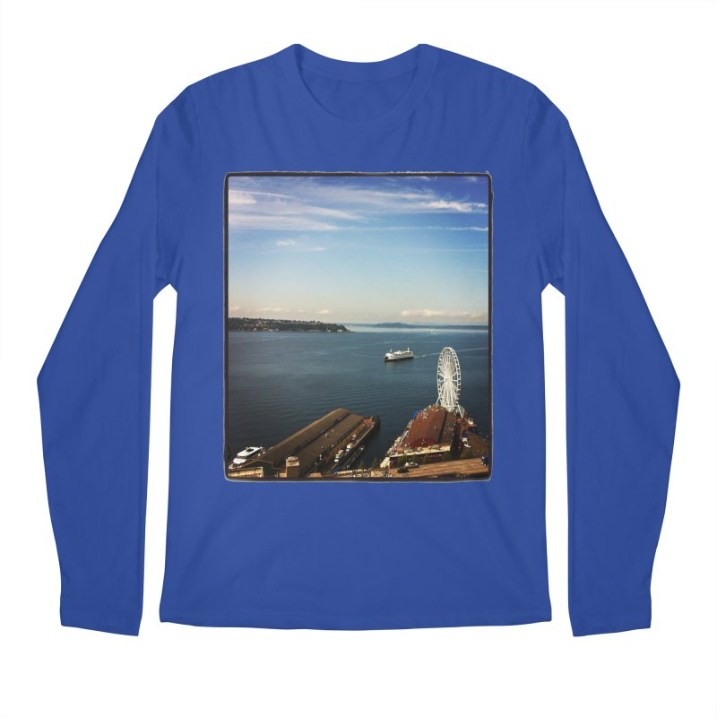 The Perfect Seattle Day, Ferry, and the Great Wheel Men's Longsleeve T-Shirt by terryann's Artist Shop