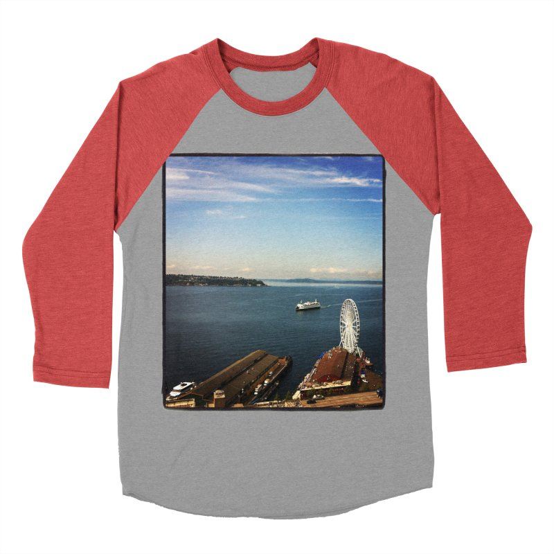 The Perfect Seattle Day, Ferry, and the Great Wheel Men's Baseball Triblend T-Shirt by terryann's Artist Shop