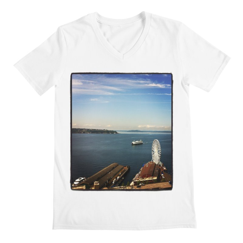 The Perfect Seattle Day, Ferry, and the Great Wheel Men's V-Neck by terryann's Artist Shop
