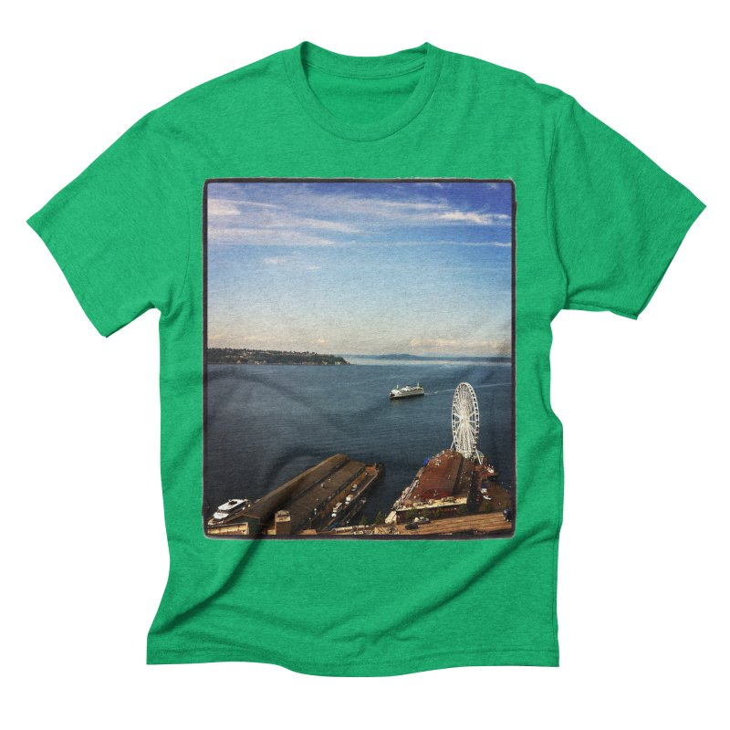 The Perfect Seattle Day, Ferry, and the Great Wheel Men's Triblend T-shirt by terryann's Artist Shop