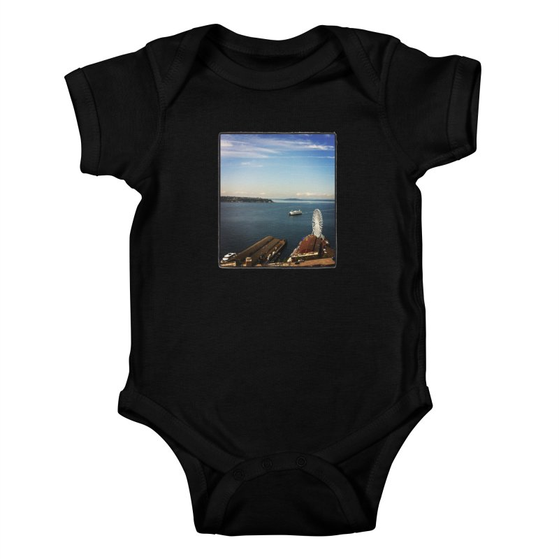 The Perfect Seattle Day, Ferry, and the Great Wheel Kids Baby Bodysuit by terryann's Artist Shop