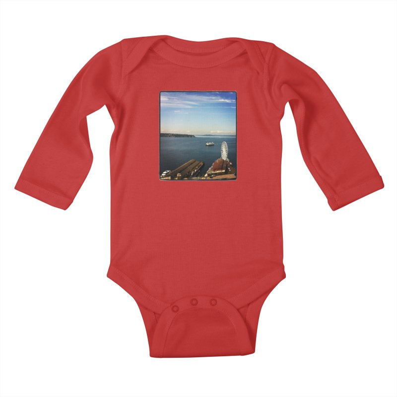 The Perfect Seattle Day, Ferry, and the Great Wheel Kids Baby Longsleeve Bodysuit by terryann's Artist Shop
