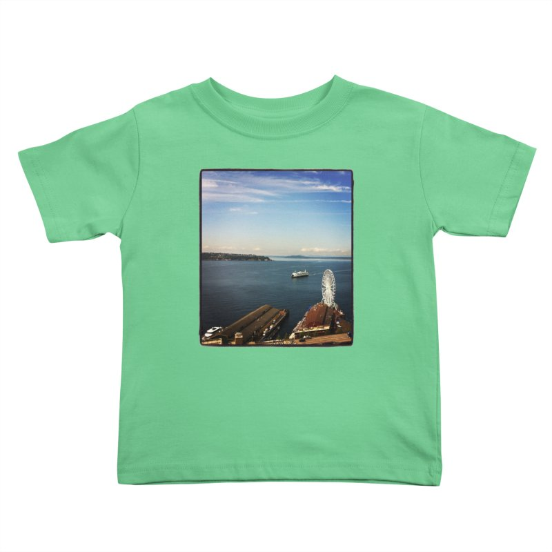 The Perfect Seattle Day, Ferry, and the Great Wheel Kids Toddler T-Shirt by terryann's Artist Shop