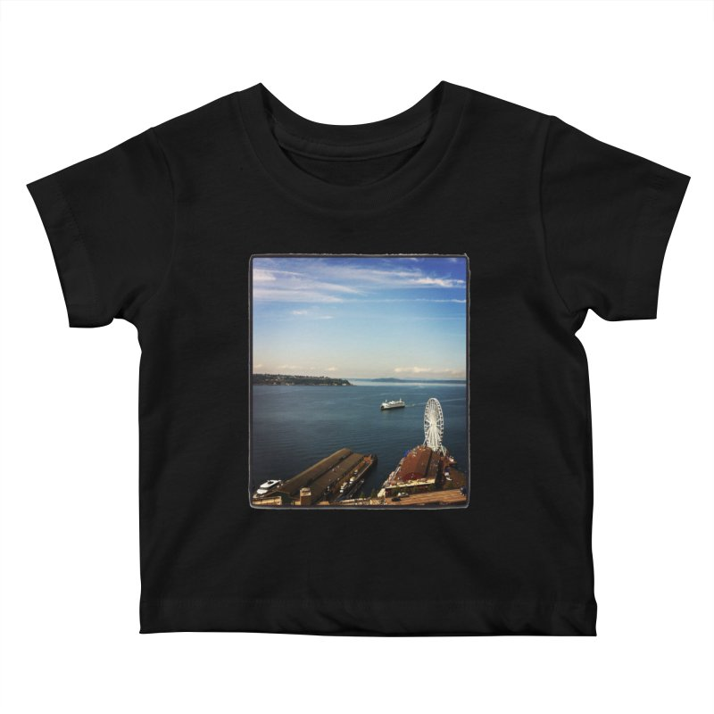 The Perfect Seattle Day, Ferry, and the Great Wheel Kids Baby T-Shirt by terryann's Artist Shop