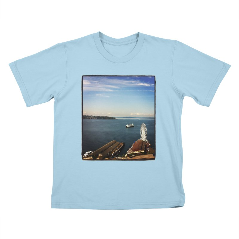 The Perfect Seattle Day, Ferry, and the Great Wheel Kids T-shirt by terryann's Artist Shop