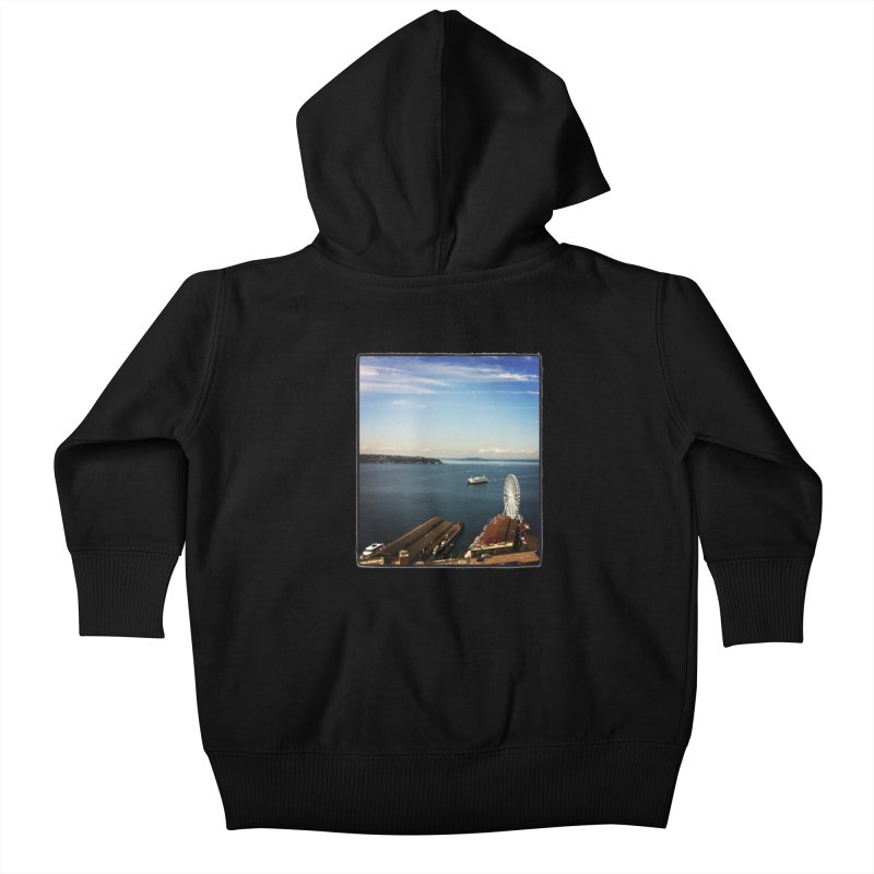 The Perfect Seattle Day, Ferry, and the Great Wheel Kids Baby Zip-Up Hoody by terryann's Artist Shop