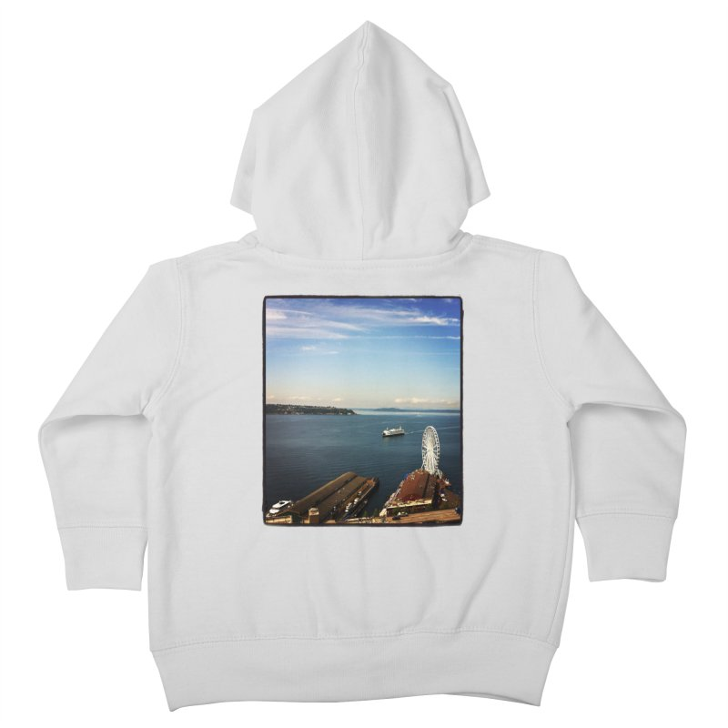 The Perfect Seattle Day, Ferry, and the Great Wheel Kids Toddler Zip-Up Hoody by terryann's Artist Shop