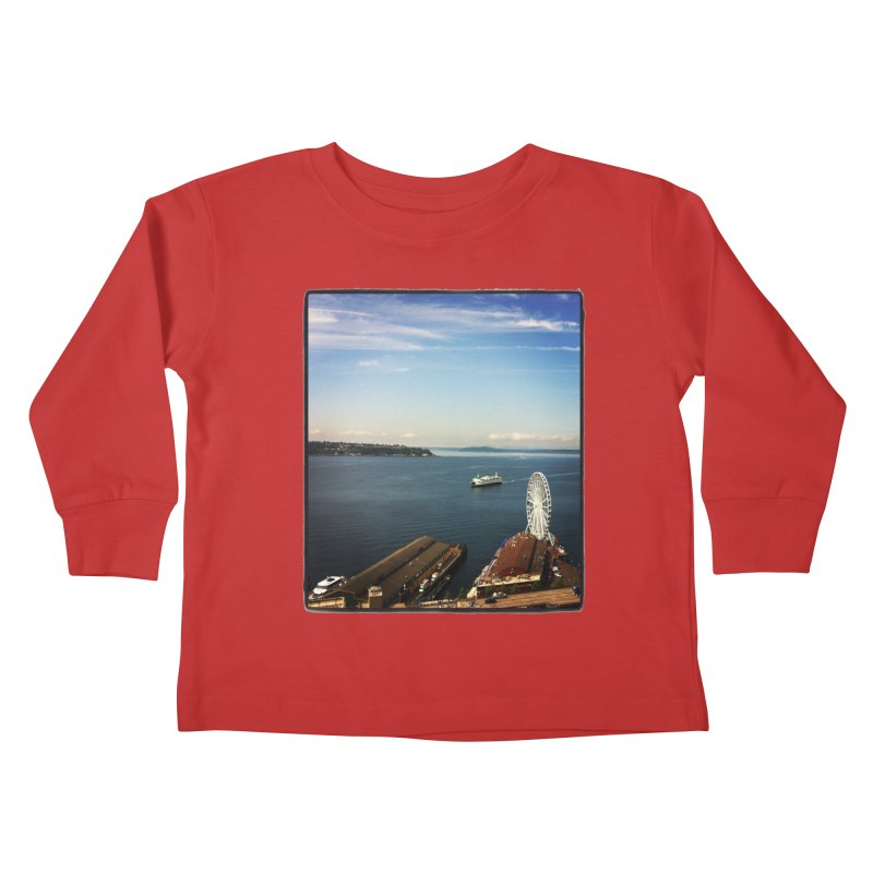 The Perfect Seattle Day, Ferry, and the Great Wheel Kids Toddler Longsleeve T-Shirt by terryann's Artist Shop