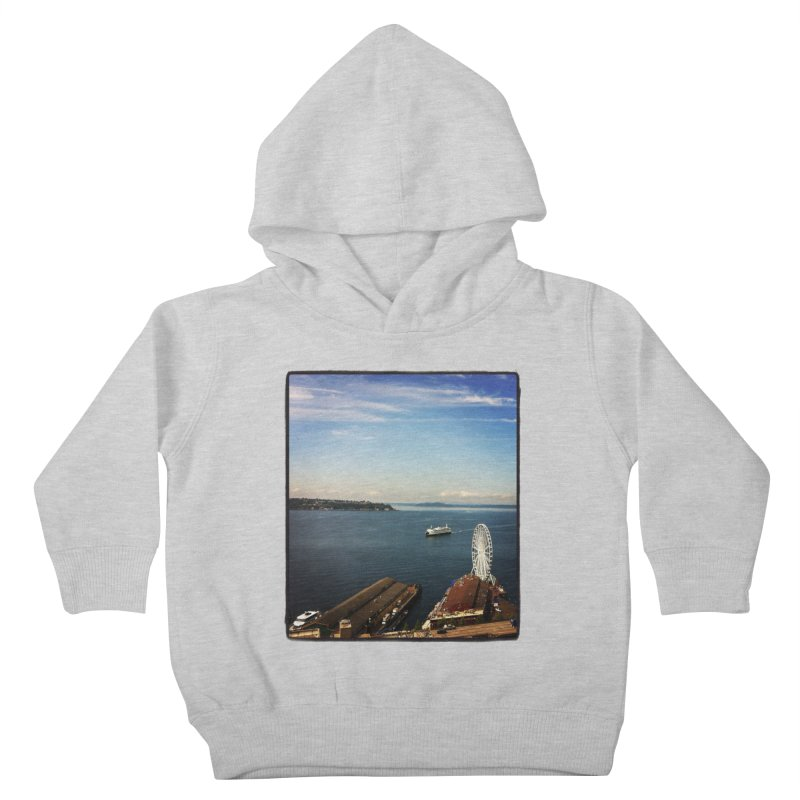 The Perfect Seattle Day, Ferry, and the Great Wheel Kids Toddler Pullover Hoody by terryann's Artist Shop