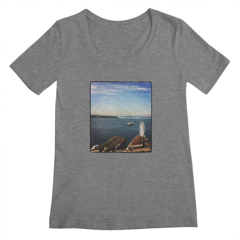 The Perfect Seattle Day, Ferry, and the Great Wheel Women's Scoopneck by terryann's Artist Shop