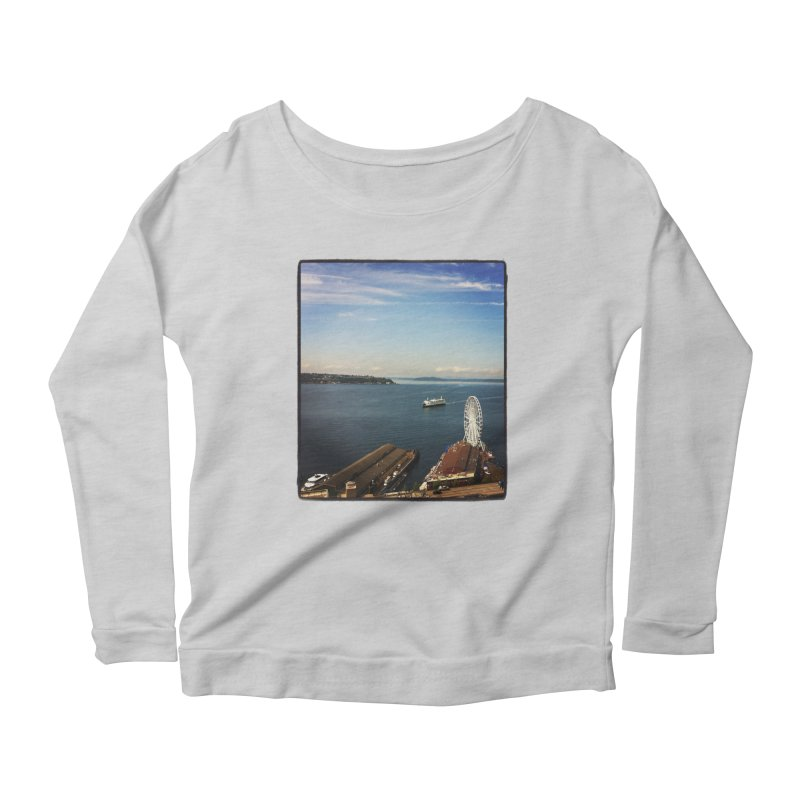 The Perfect Seattle Day, Ferry, and the Great Wheel Women's Longsleeve Scoopneck  by terryann's Artist Shop