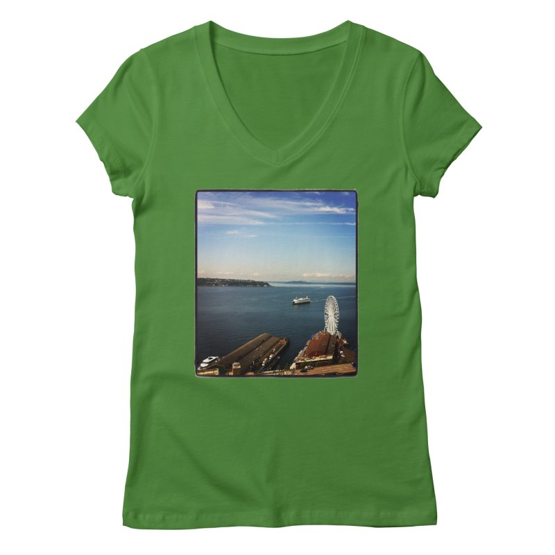 The Perfect Seattle Day, Ferry, and the Great Wheel Women's V-Neck by terryann's Artist Shop