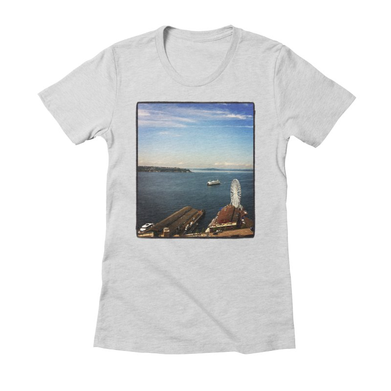 The Perfect Seattle Day, Ferry, and the Great Wheel Women's Fitted T-Shirt by terryann's Artist Shop