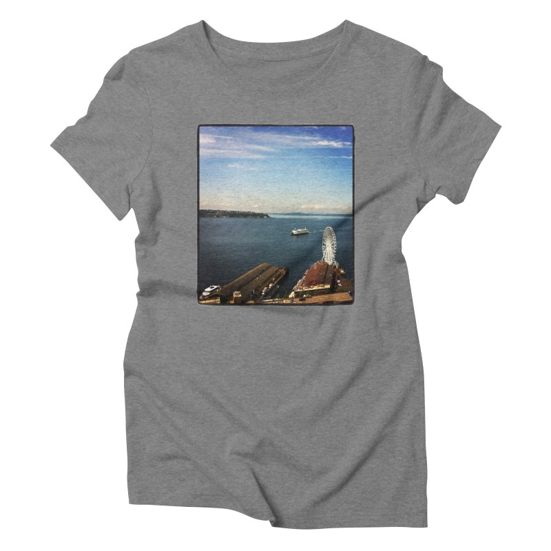 The Perfect Seattle Day, Ferry, and the Great Wheel Women's Triblend T-Shirt by terryann's Artist Shop