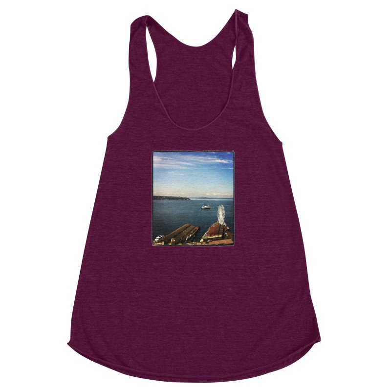 The Perfect Seattle Day, Ferry, and the Great Wheel Women's Racerback Triblend Tank by terryann's Artist Shop