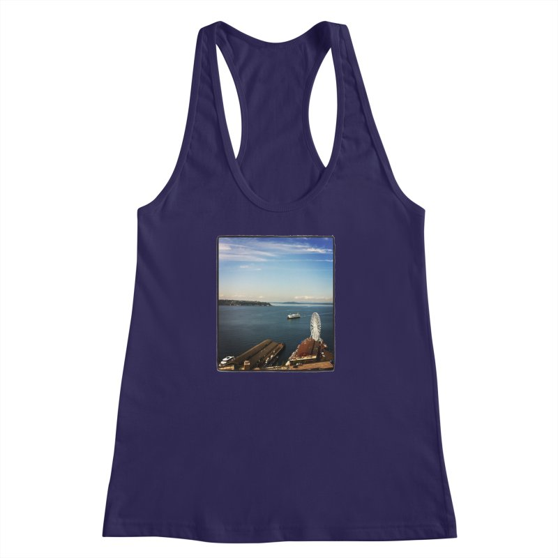 The Perfect Seattle Day, Ferry, and the Great Wheel Women's Racerback Tank by terryann's Artist Shop