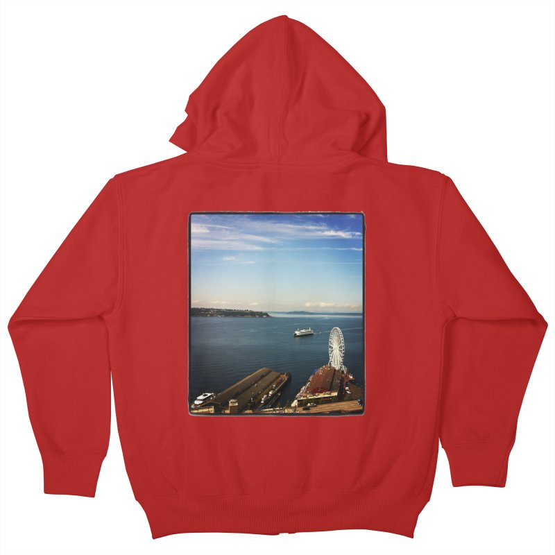 The Perfect Seattle Day, Ferry, and the Great Wheel Kids Zip-Up Hoody by terryann's Artist Shop