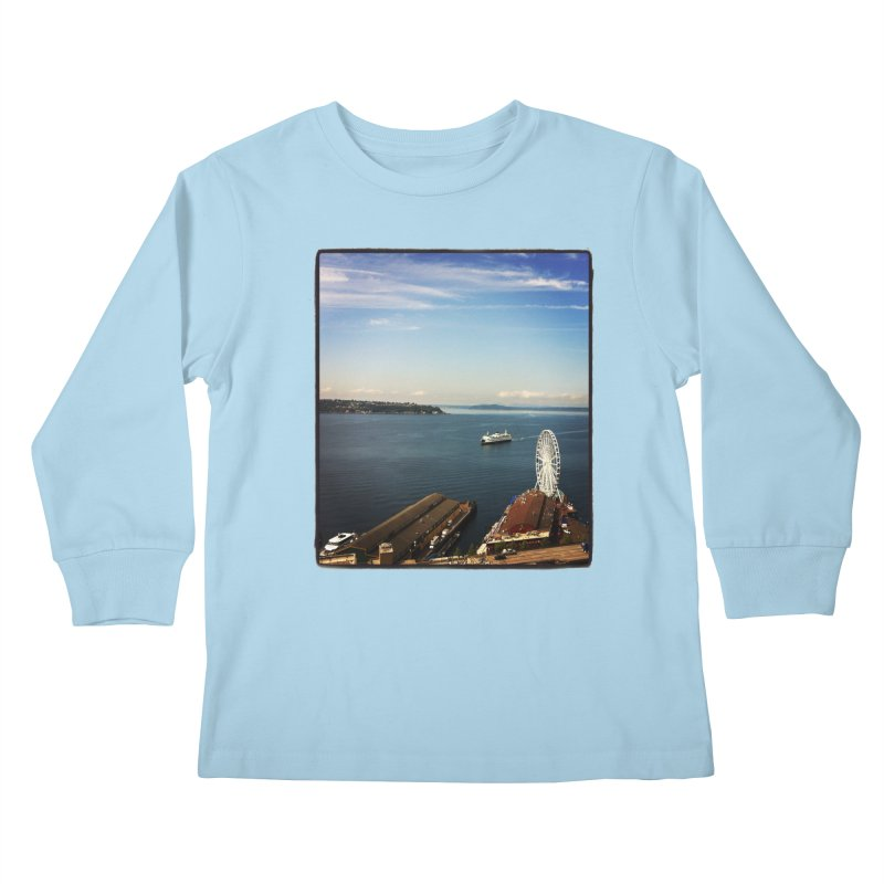 The Perfect Seattle Day, Ferry, and the Great Wheel Kids Longsleeve T-Shirt by terryann's Artist Shop