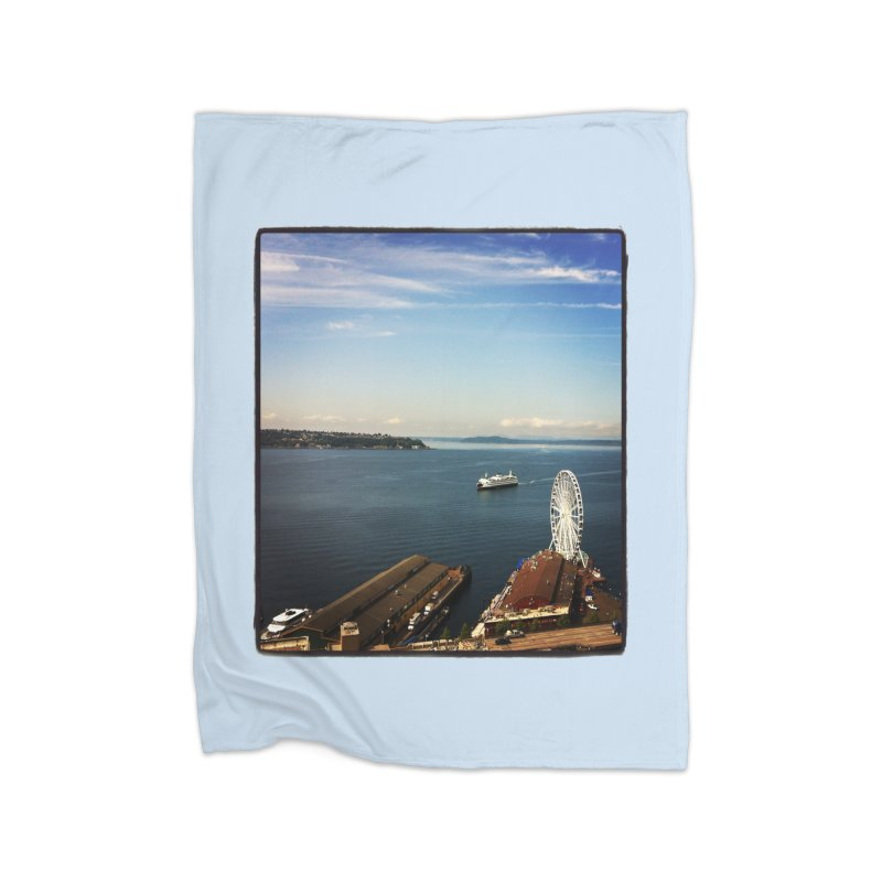 The Perfect Seattle Day, Ferry, and the Great Wheel Home Fleece Blanket by terryann's Artist Shop