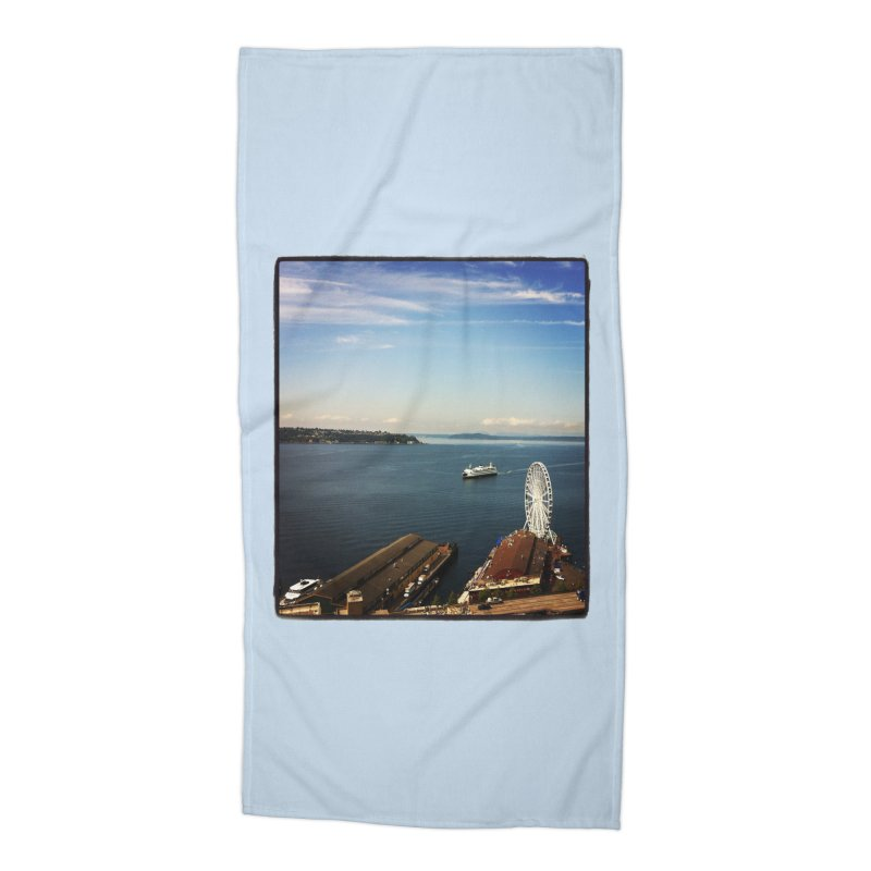 The Perfect Seattle Day, Ferry, and the Great Wheel Accessories Beach Towel by terryann's Artist Shop