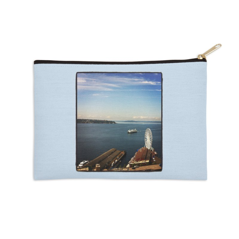 The Perfect Seattle Day, Ferry, and the Great Wheel Accessories Zip Pouch by terryann's Artist Shop