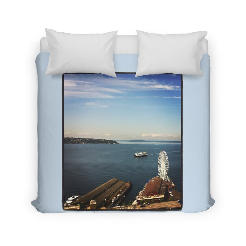 The Perfect Seattle Day, Ferry, and the Great Wheel Home Duvet by terryann's Artist Shop