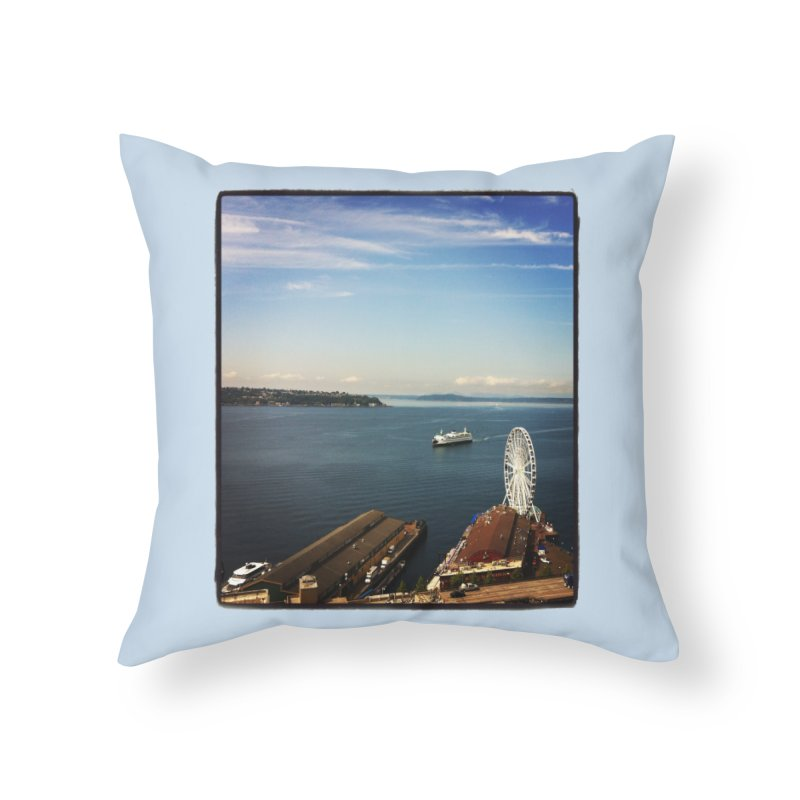 The Perfect Seattle Day, Ferry, and the Great Wheel Home Throw Pillow by terryann's Artist Shop