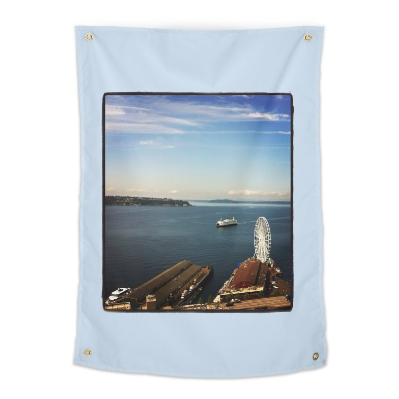 The Perfect Seattle Day, Ferry, and the Great Wheel Home Tapestry by terryann's Artist Shop