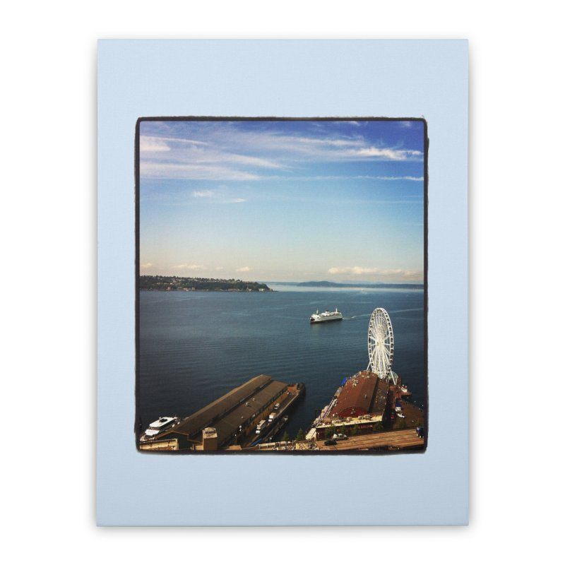 The Perfect Seattle Day, Ferry, and the Great Wheel Home Stretched Canvas by terryann's Artist Shop