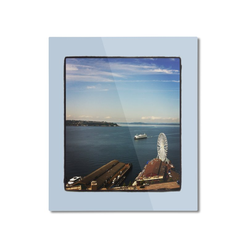 The Perfect Seattle Day, Ferry, and the Great Wheel Home Mounted Aluminum Print by terryann's Artist Shop