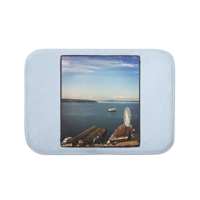 The Perfect Seattle Day, Ferry, and the Great Wheel Home Bath Mat by terryann's Artist Shop