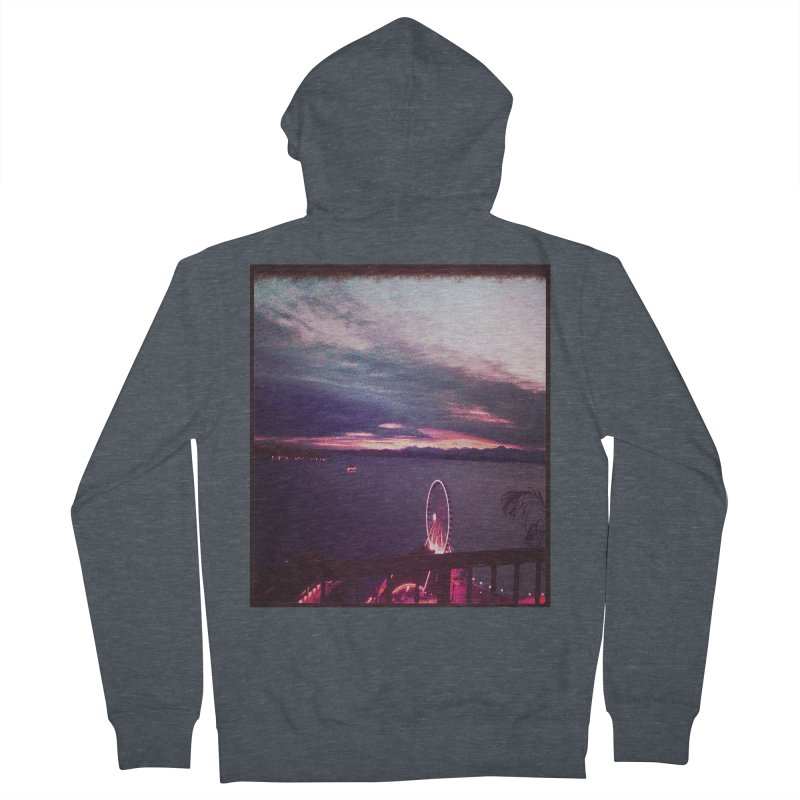 Seattle Sunset Wheel - Seattle Vibe Men's Zip-Up Hoody by terryann's Artist Shop